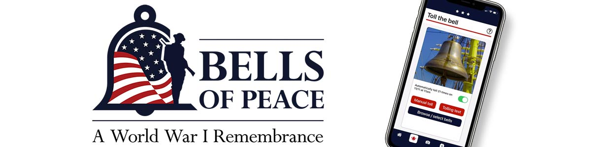 Bells of Peace logo and screen shot of the Bells of Peace Participation App