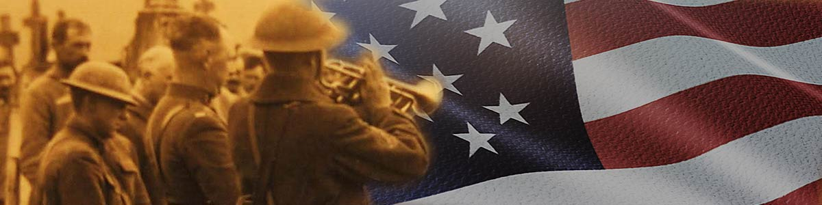 Bugle and US flag image